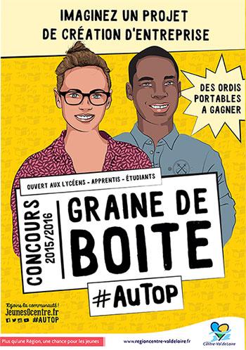 """Logo de la 14ème édition du concours """"Graine de Boîte"""" 2015 - 2016"""