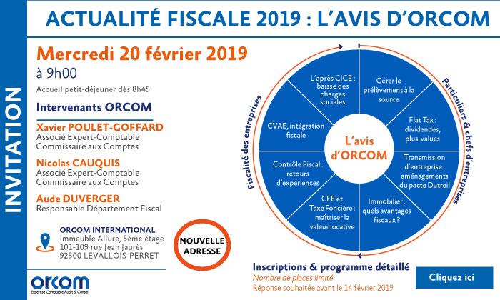 Actualité fiscale 2019 : L'avis d'ORCOM | International