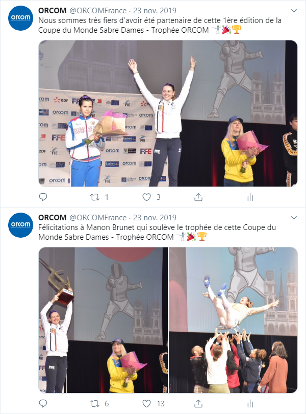 tweetlive coupe du monde escrime sabre dames Orcom